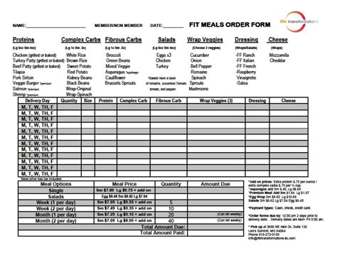 food pre order form template fit meals transformations personal