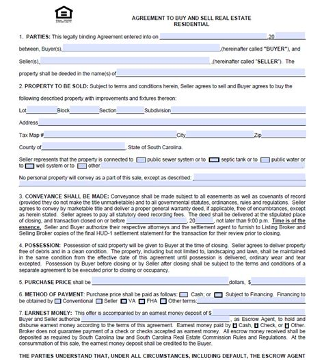 Charleston Real Estate Agreement To Purchase Form Real Estate Purchase Agreement Template