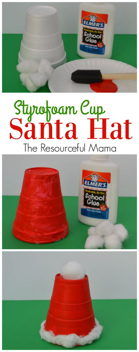 santa made from styrofoam cup styrofoam cup santa hat kid craft the resourceful