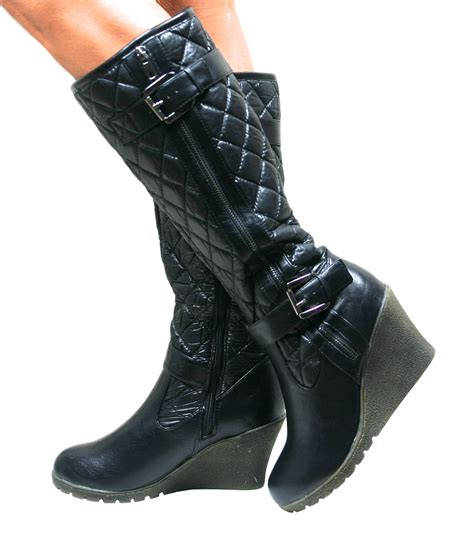 Quilted Wedge Boots by Womens Knee High Wedge Heel Black Padded Quilted