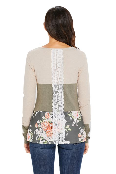 Patchwork Womens - sleeve blouse top lace womens shirt autumn casual