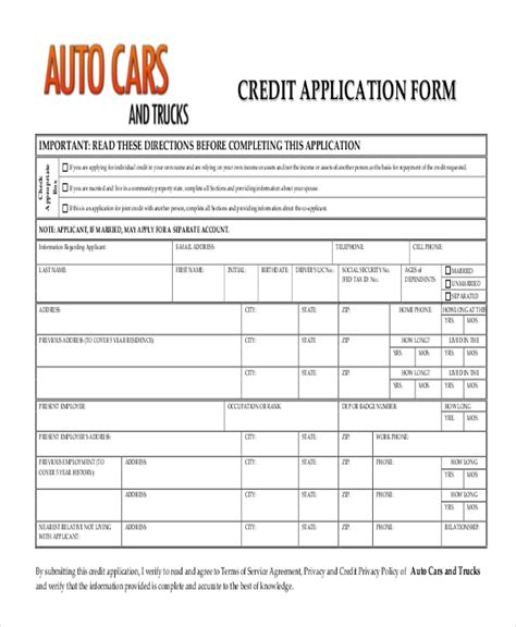 sample credit application form   documents