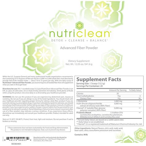 Nutriclean Detox by Nutriclean 174 Advanced Fiber Powder Product Label