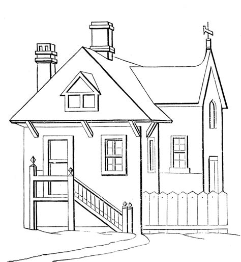 Simple House Coloring Pages &gt&gt Disney sketch template