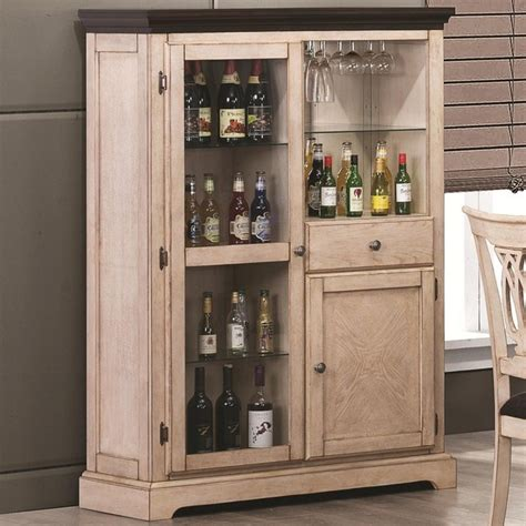 Transitional White Bar Curio Cabinet Traditional Wine Kitchen Furniture Storage