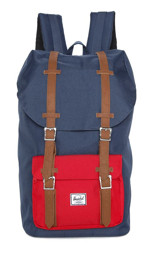 backpack with leather straps herschel supply co america backpack with leather straps in blue for lyst