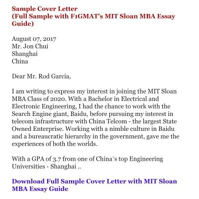 Mit Cover Letter Mba by Mit Sloan Mba Essay Tips Mit Sloan Mba Application Essay