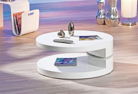 deco in table basse laque blanc ronde extensible