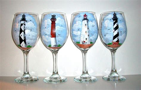 wine glass painting lighthouses hand painted wine glasses painted wine glasses set