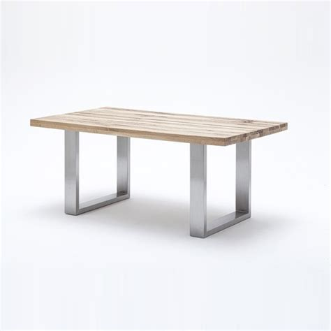 Dining Table With Stainless Steel Legs Capello Oak Dining Table With Stainless Steel Legs