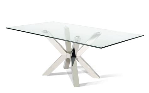 Rectangular Glass Top Dining Room Tables by Modrest Ft155 Modern Clear Glass Rectangular Dining Table