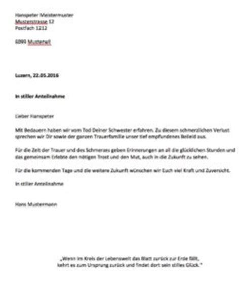 Musterbrief Mietzinsreduktion Schweiz Kondolenzschreiben Beispiel Muster Und Vorlagen Kostenlos