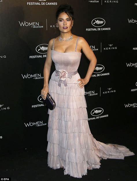 Dress Mocion salma hayek dazzles in a navy dress at in motion