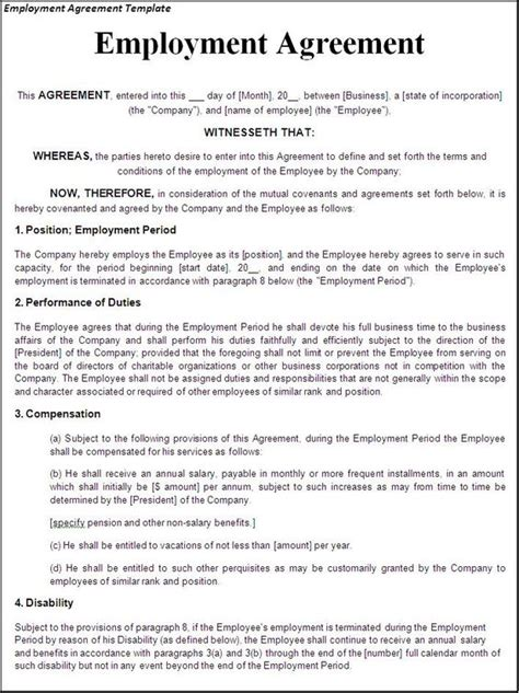 working agreement template printable sle employment contract sle form laywers