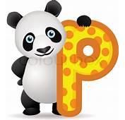 Animal Alphabet P With Panda Cartoon  Stock Vector