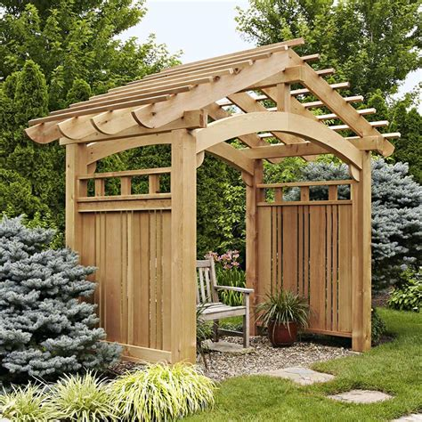 backyard arbor arching garden arbor woodworking plan from wood magazine