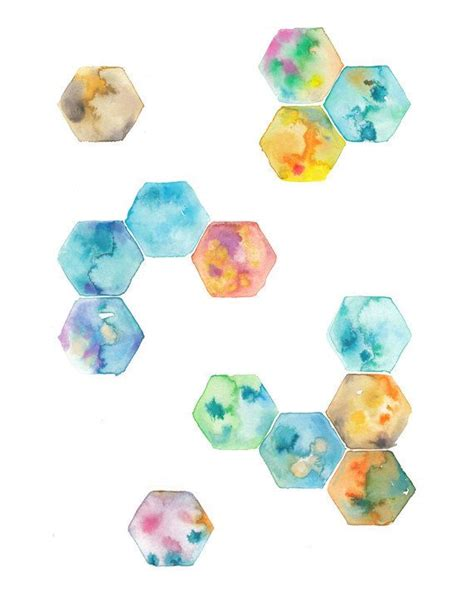 Fig 040 Hexagon Shapes Print Other Colorful - 78 best idee 235 n hexagon op