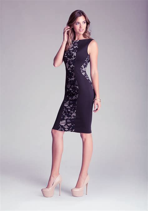 Dress Bebe Midi 1 bebe lace ponte midi dress in black lyst