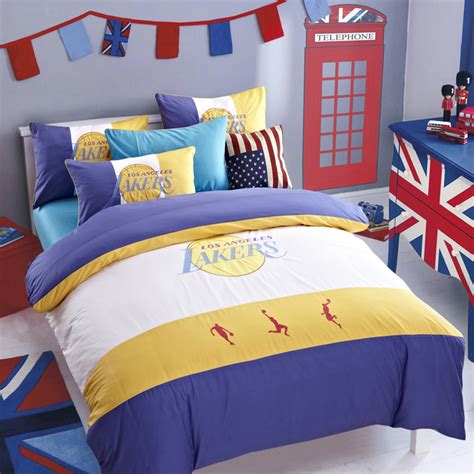 lakers bedroom designer sports basketball bedding set los angeles lakers