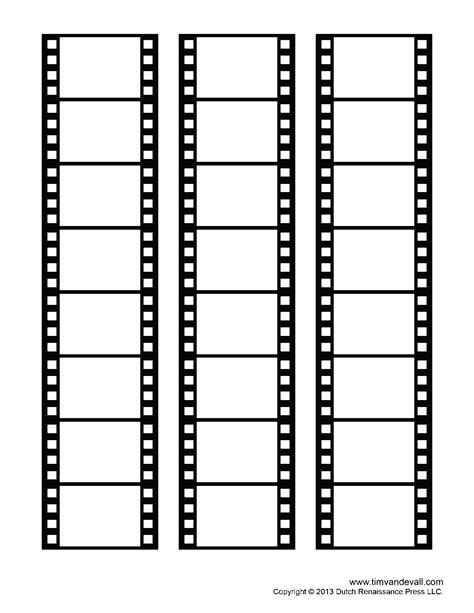 Blank Film Strip Template For A Photo Collage Or Movie Poster Photo Template