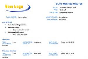 staff meeting minutes template free meeting minutes template for microsoft word
