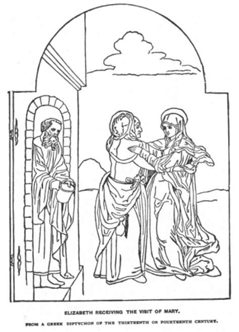 mary visits elizabeth coloring pages coloring pages