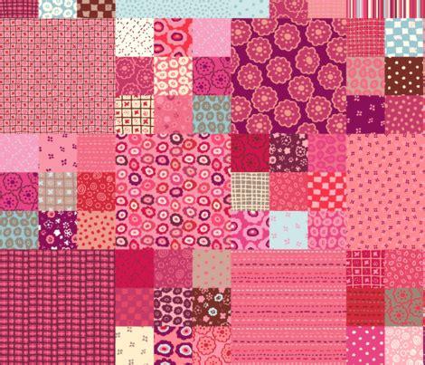 Pink Patchwork Fabric - pink patchwork fabric fabric twilltextiledesign