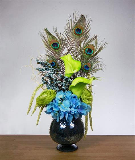 silk flower arrangement peacock feathers in home decor and new blue and green peacock feather hydrangea rose lily