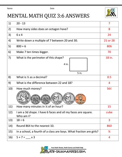 quiz questions related to maths mental math 3rd grade