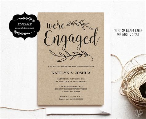 Engagement Invitation Template Printable Engagement Party Engagement Invitation Card Template