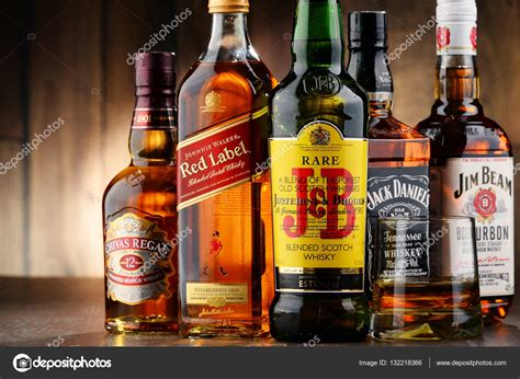 composition with bottles of popular whiskey brands stock