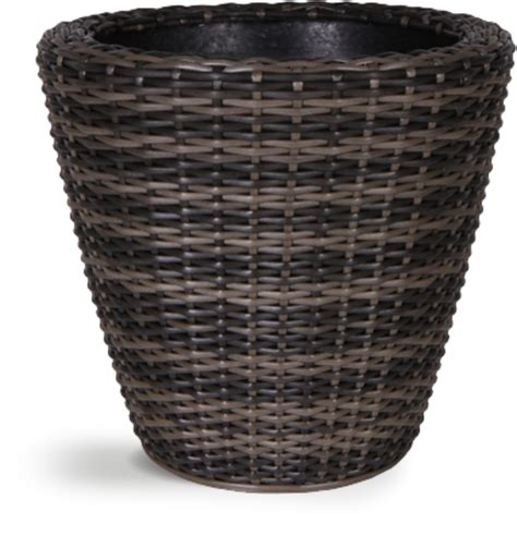 mixed brown rattan wicker planter with inbuilt