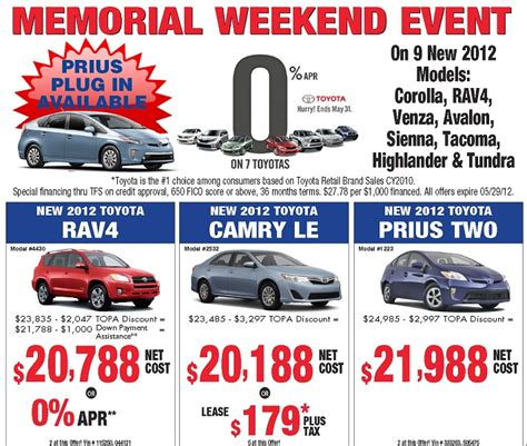 Toyota Memorial Day Sale Toyota Memorial Day Sales 2012 Bay Area Toyota Dealer