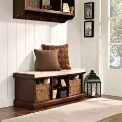 entry storage bench crosley brennan entryway storage bench mahogany indoor