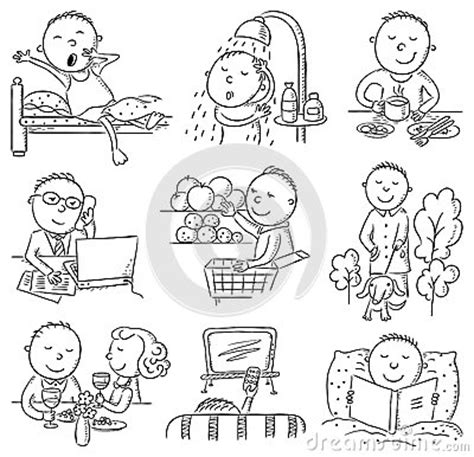 Simple Listy Black And White daily activities stock vector image 48634835