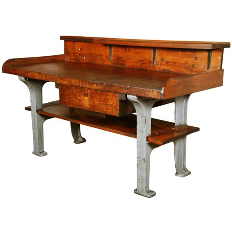 antique jewelers bench vintage industrial rustic wood cast iron work bench