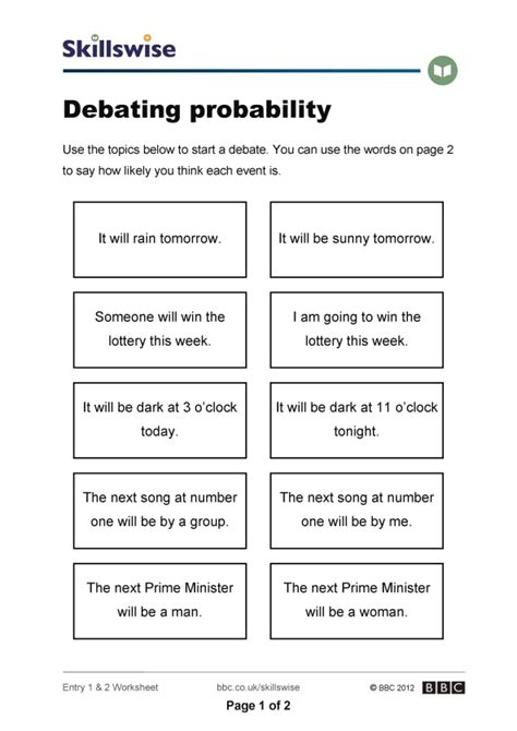 Probability Of Events Worksheet by Debating Probability