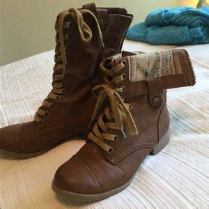 brown fold combat boots on poshmark