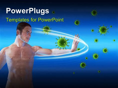 Powerpoint Template A Man Blocking Viruses Over A Blue Powerplugs For Powerpoint Free