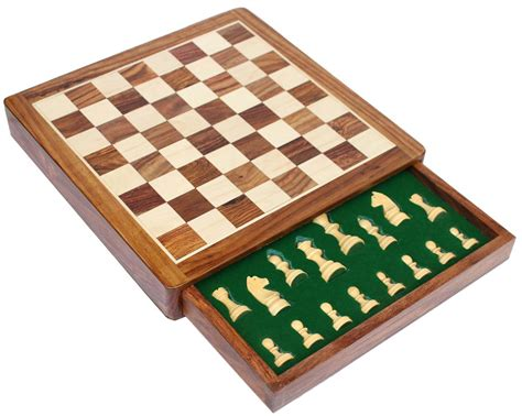 Handcrafted Chess Set - wholesale 12x12 inch wooden chess set with storage drawer