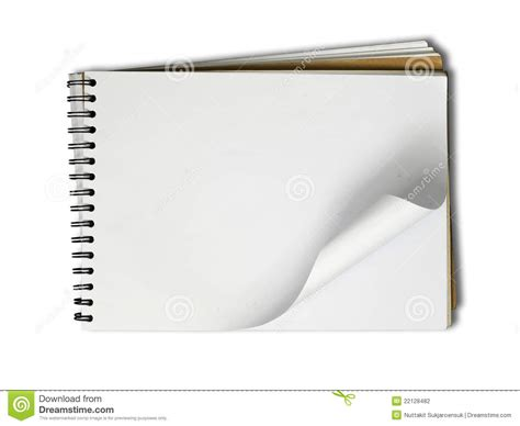background sketchbook blank page sketch book on white background stock