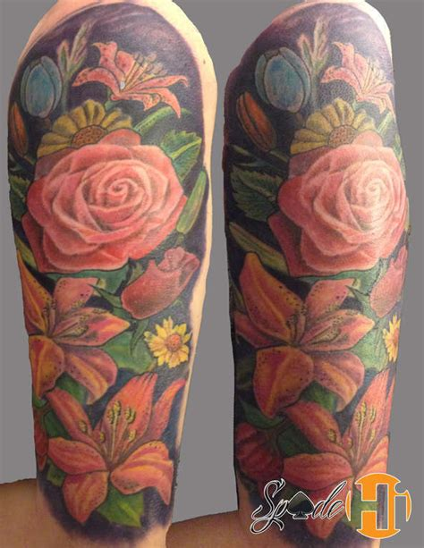 spade flower tattoo sleeve color flower tattoo flower