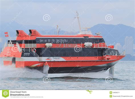 hydrofoil boat speed high speed hydrofoil ferry boat in the harbor of hong kong