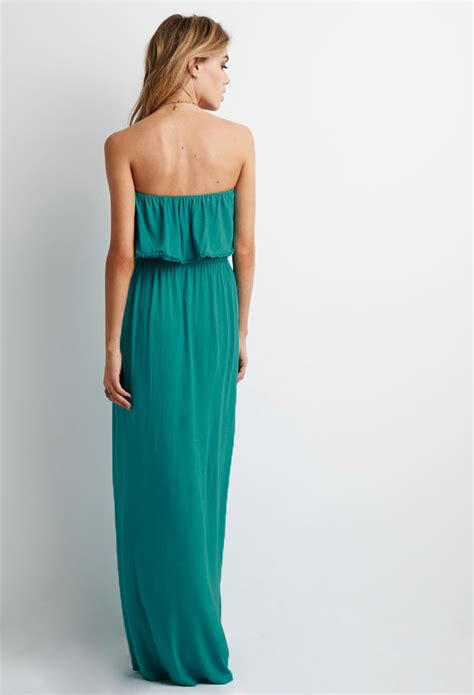 Maxi Dress Forever 8 Kode 7080 lyst forever 21 strapless flounce maxi dress in blue