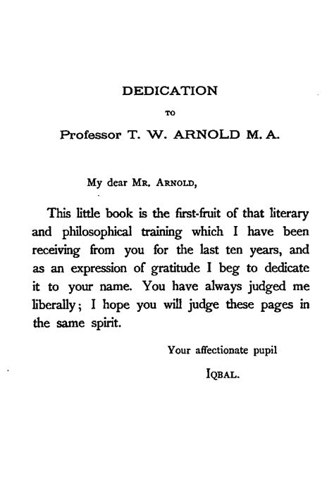 Dedication Letter Sle For Research Paper The Development Of Metaphysics In By Shaikh Muhammad Iqbal A Project Gutenberg Ebook