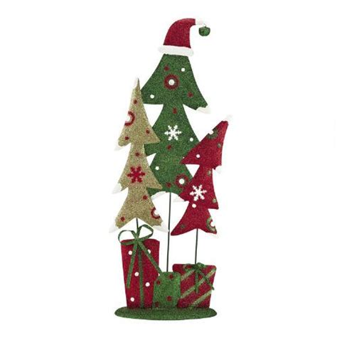 green glittered trees trio with red hat christmas tree