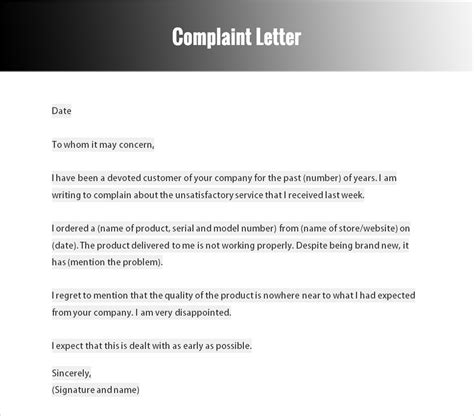 Informal Letter Complaint About Service Formal Letter Templates Free Word Documents Creative Template