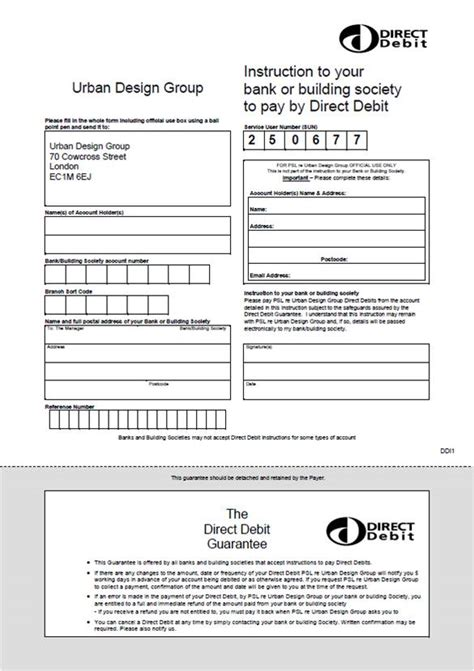 direct debit form pay design