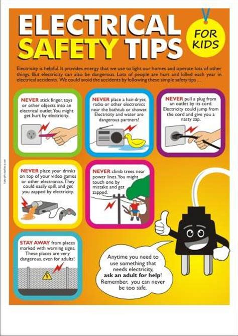 printable safety poster the importance of electrical safety for kids is shocking