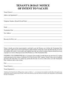 30 day notice to vacate template 30 day notice forms templates and sles